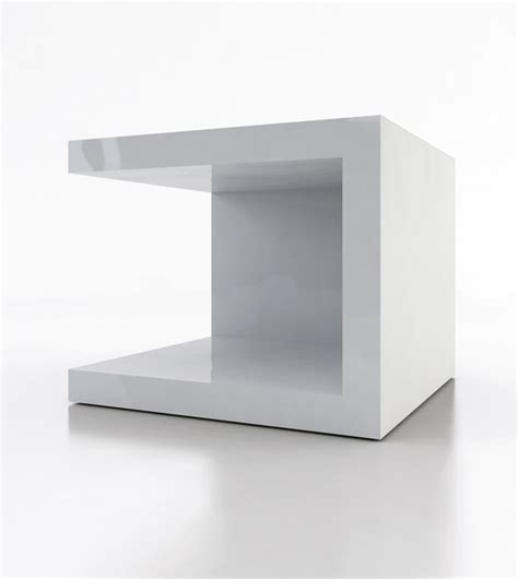 Cube Nightstand by Ludlow White Lacquer Cube Nightstand Set Of 2