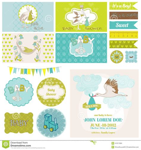 Baby Shower Stork Theme by Baby Shower Stork Theme Set Stock Vector Image 41617584