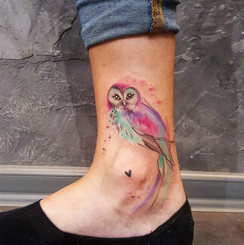 small owl watercolor piece on s ankle best tattoo
