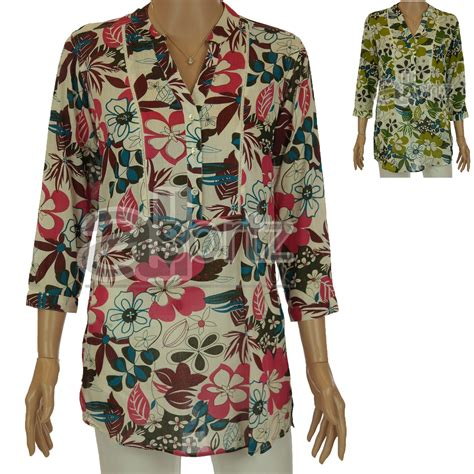 Floral Print Tunic leaf floral print tunic top green or pink