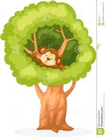 cartoon monkey on the tree royalty free stock photo