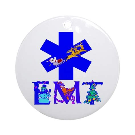 emt christmas gifts ornament round by myrealheroes