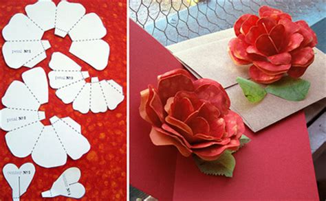 rose paper flower pattern rose flower rose flower pop up card template