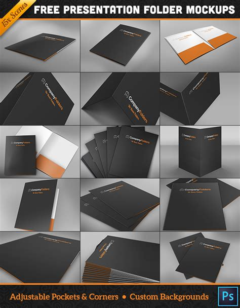 free download 15 folder design mockup templates for