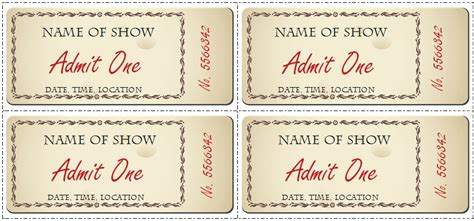show ticket template 6 ticket templates for word to design your own free tickets