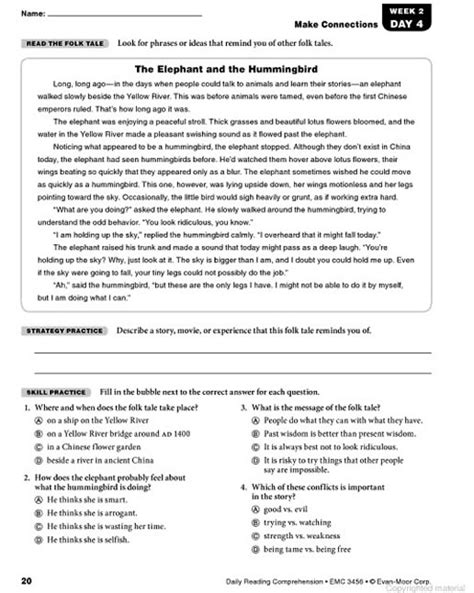 free printable english comprehension worksheets for grade 6 short reading comprehension for grade 6 with questions