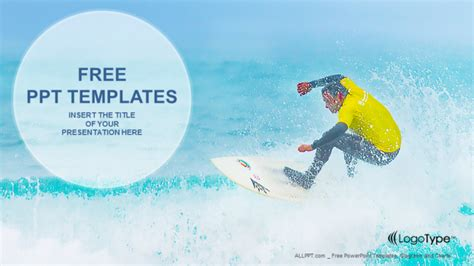 ppt templates free download exercise surfer watersport ppt templates