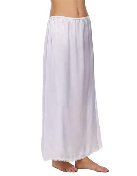satin solid lace trim maxi half slips underskirt