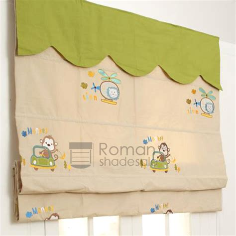 patterned fabric roman shades cute monkey lion patterned fabric roman shades embroidery