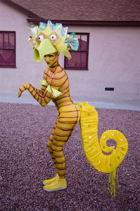 seahorse yellow costume tail  headdress   sea