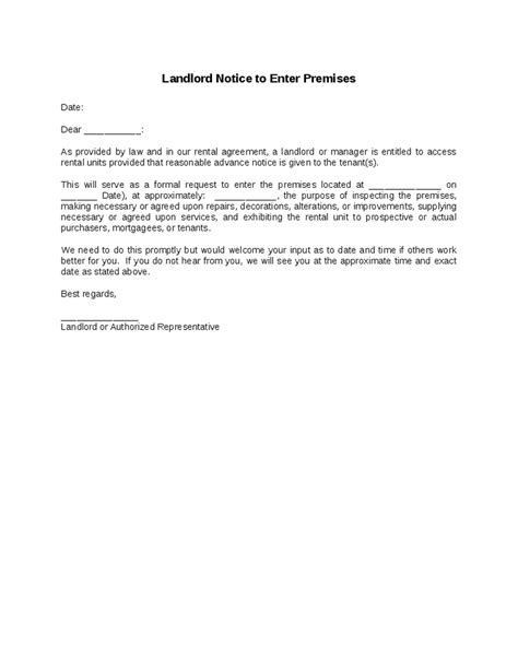 to enter landlord notice to enter premises hashdoc
