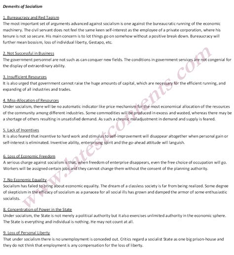 Write An Essay On Merit And Demerit Of Peer by Socialism Merits And Demerits Business Notes