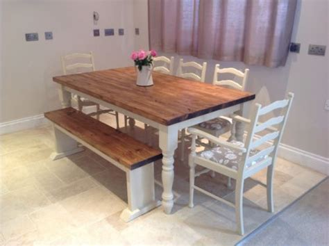 Farmhouse Kitchen Table With Bench Shabby Chic Rustic Farmhouse Solid 8 Seater Dining Table Bench And 6 Oak Chairs