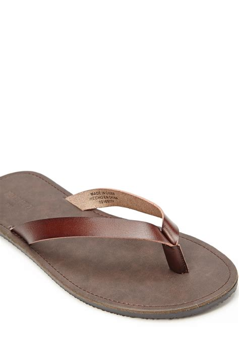 Faux Leather Flip Flops forever 21 mens faux leather flip flops in brown for