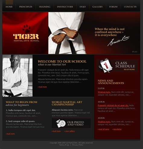website templates for karate martial arts website template 14021