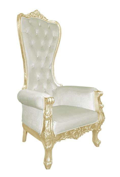 Baroque throne chair queen high back chair in beige velvet