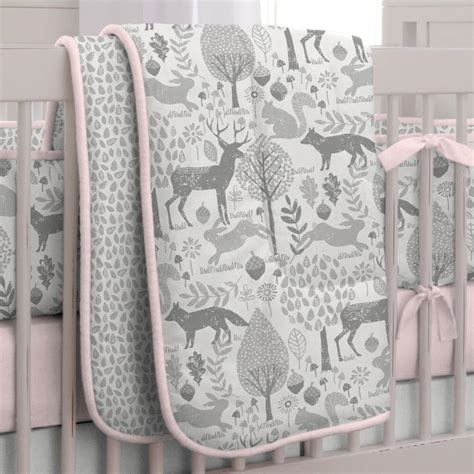 pink crib bedding set pink and gray woodland 3 crib bedding set carousel