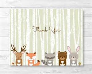 woodland forest animals folded thank you card template