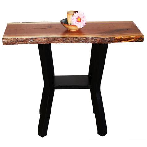 walnut live edge console table amish live edge console