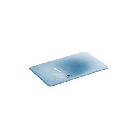 blue bathroom sinks shop kohler iron tones vapour blue cast iron drop in or undermount rectangular