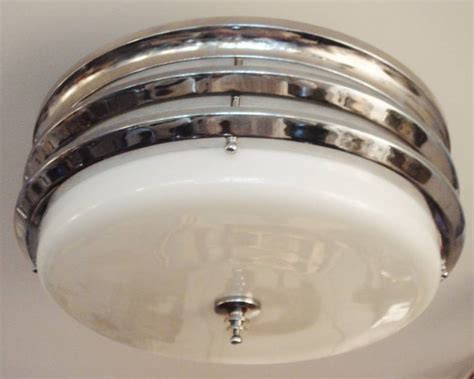 Deco Flush Ceiling Light by Large American Deco Markel Banded Flush Mount