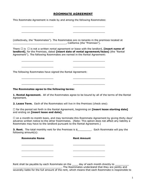 Roommate Rental Agreement Gtld World Congress Definitive Agreement Template