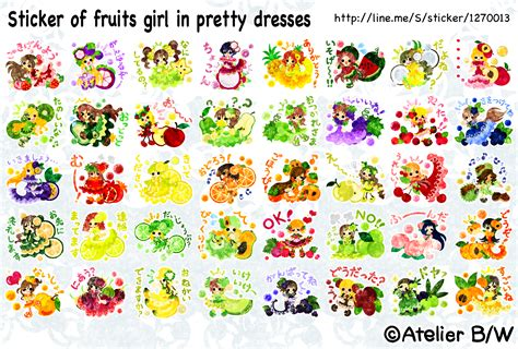 Sticker Mobil Bw sticker of fruits in pretty dresses by atelier bw on