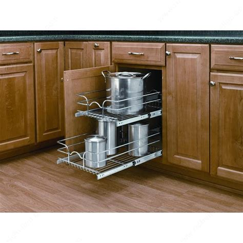 kitchen cabinet pull out baskets double pull out basket in chrome wire richelieu hardware