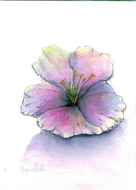 easy watercolor paintings flowers original watercolor painting simple expressions 27 00