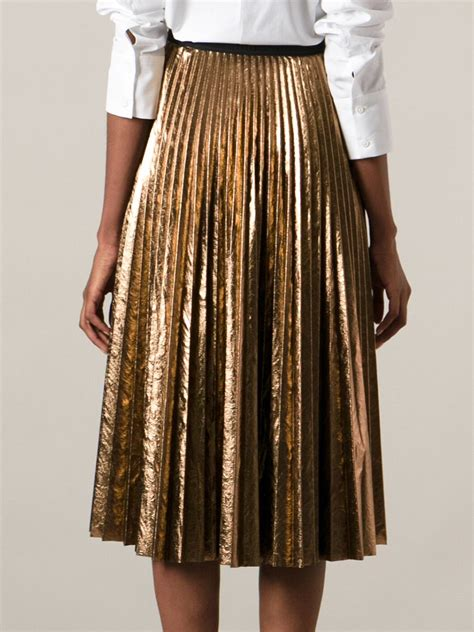 antonio marras metallic pleated skirt in metallic lyst