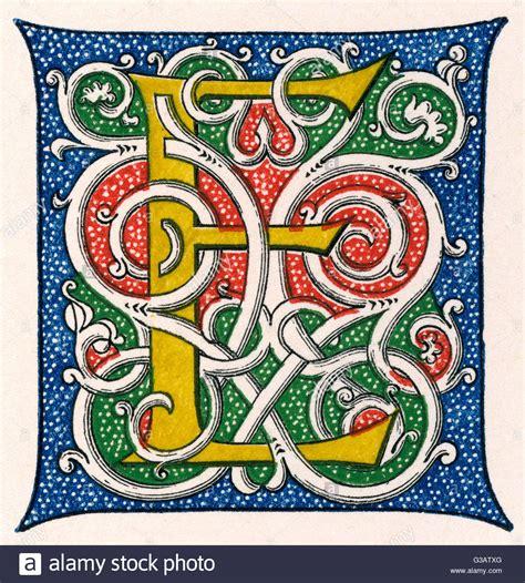 Illuminated Letter E illuminated letter e in a style stock photo