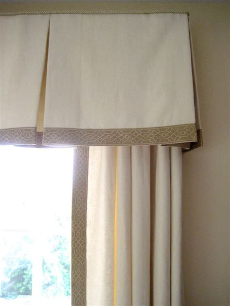 Valance For Windows Curtains Classic Beige Embroidered Trim On Box Pleated Valance Www Drapery Design Valances