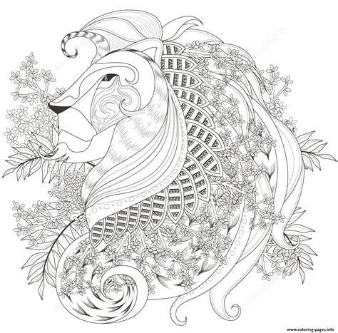 lion coloring pages pdf zentagle lion with floral elements adults coloring pages