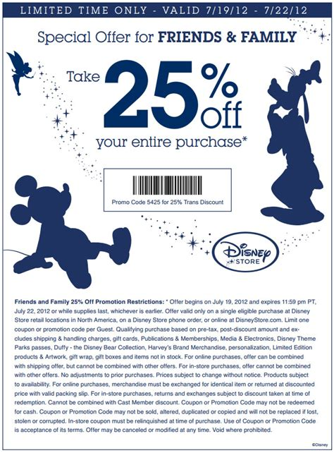 disney outlet printable coupons disneystore 25 off printable coupon