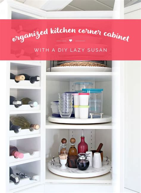 Kitchen Organization Lazy Susan Organized Kitchen Corner Cabinet With A Diy Lazy Susan