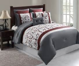 8pc silver maroon gray floral embroidered comforter set