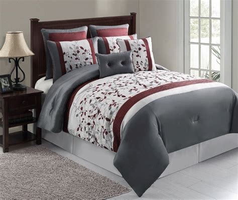 maroon bed set 8pc silver maroon gray floral embroidered comforter set