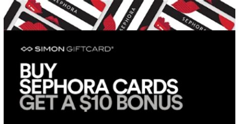 Simon Gift Card Mall Locations - ends 10 30 buy a 50 sephora gift card get an extra 10 credit for sephora must buy