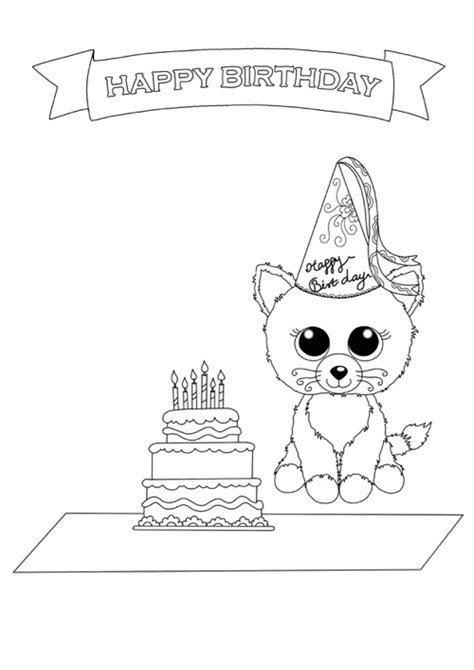 birthday cat coloring page free beanie boo coloring pages download print cats