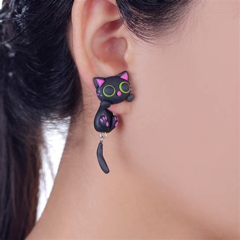 Anting Kucing Cat Kawaii Handmade Clay 2016 new design handmade purple ear cat stud earring