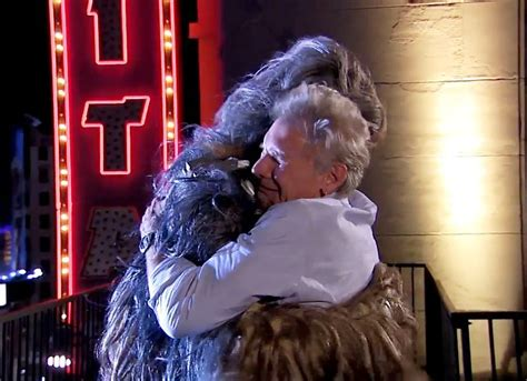 end harrison ford harrison ford and chewbacca end their feud mix106 3