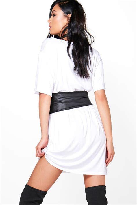 boohoo womens 2 in 1 corset belt t shirt dress