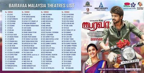 film malaysia list bairavaa malaysia theater list tamil movie music reviews