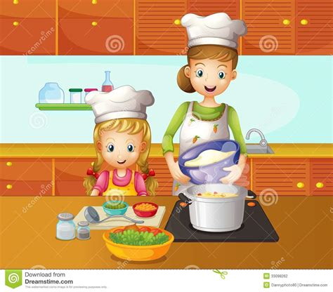 Mother Daughter House Plans A Mother And Daughter Cooking Stock Vector Image 33098262