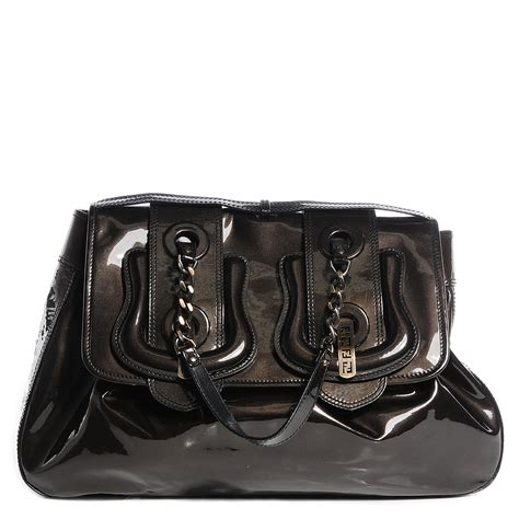 Fendi Patent B Bag Is Oh So by Fendi Vernice Patent B Bag Bronze 90915