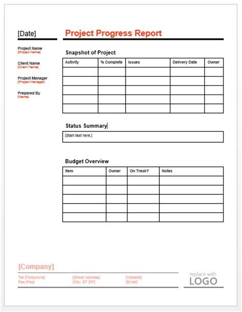 progress report template template project progress report images