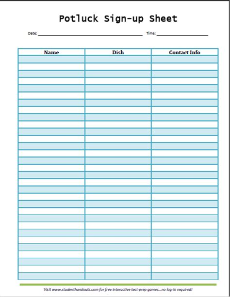 stin up templates potluck sign up sheet templates activity shelter