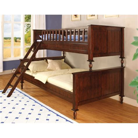 cherry bunk beds furniture of america monteus twin over full bunk bed in