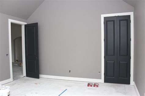 gray walls white trim rh graphite bm wrought iron on doors paint color