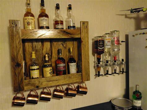 pallet whiskeys shelf  home bar  pallets